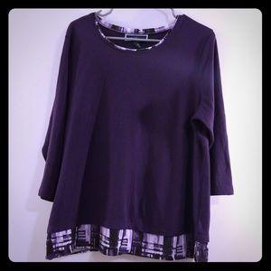 Purple 3/4 sleeve Karen Scott Shirt